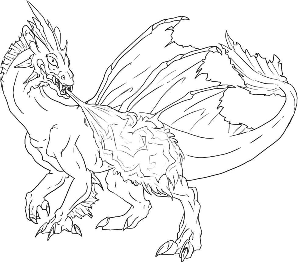 Free Printable Dragon Coloring Pages For KidsEasy Fire Breathing Dragon Drawings