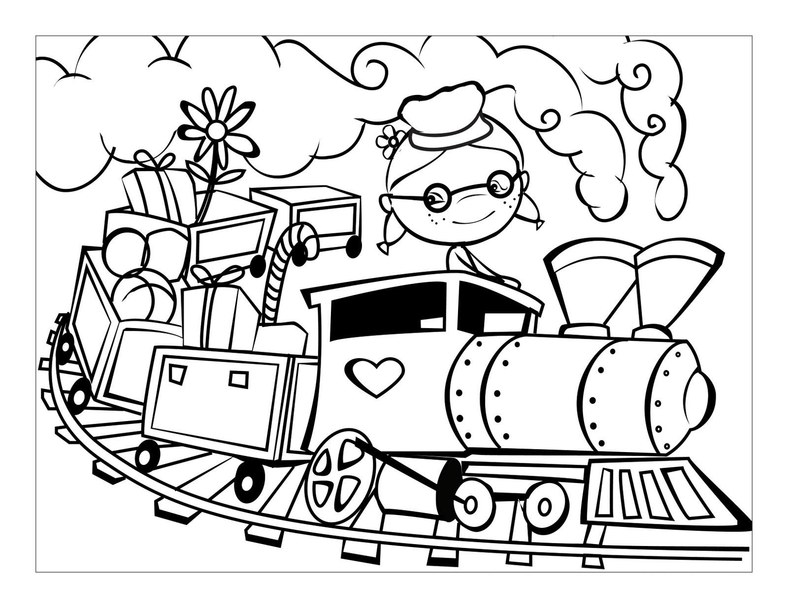Железнодорожный транспорт картинки раскраски 4