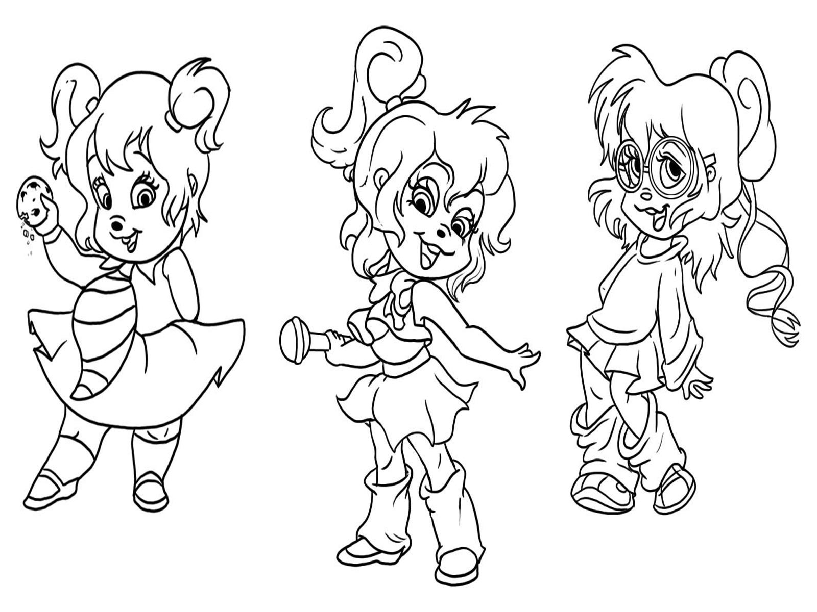 the chipettes coloring pages free - photo#3