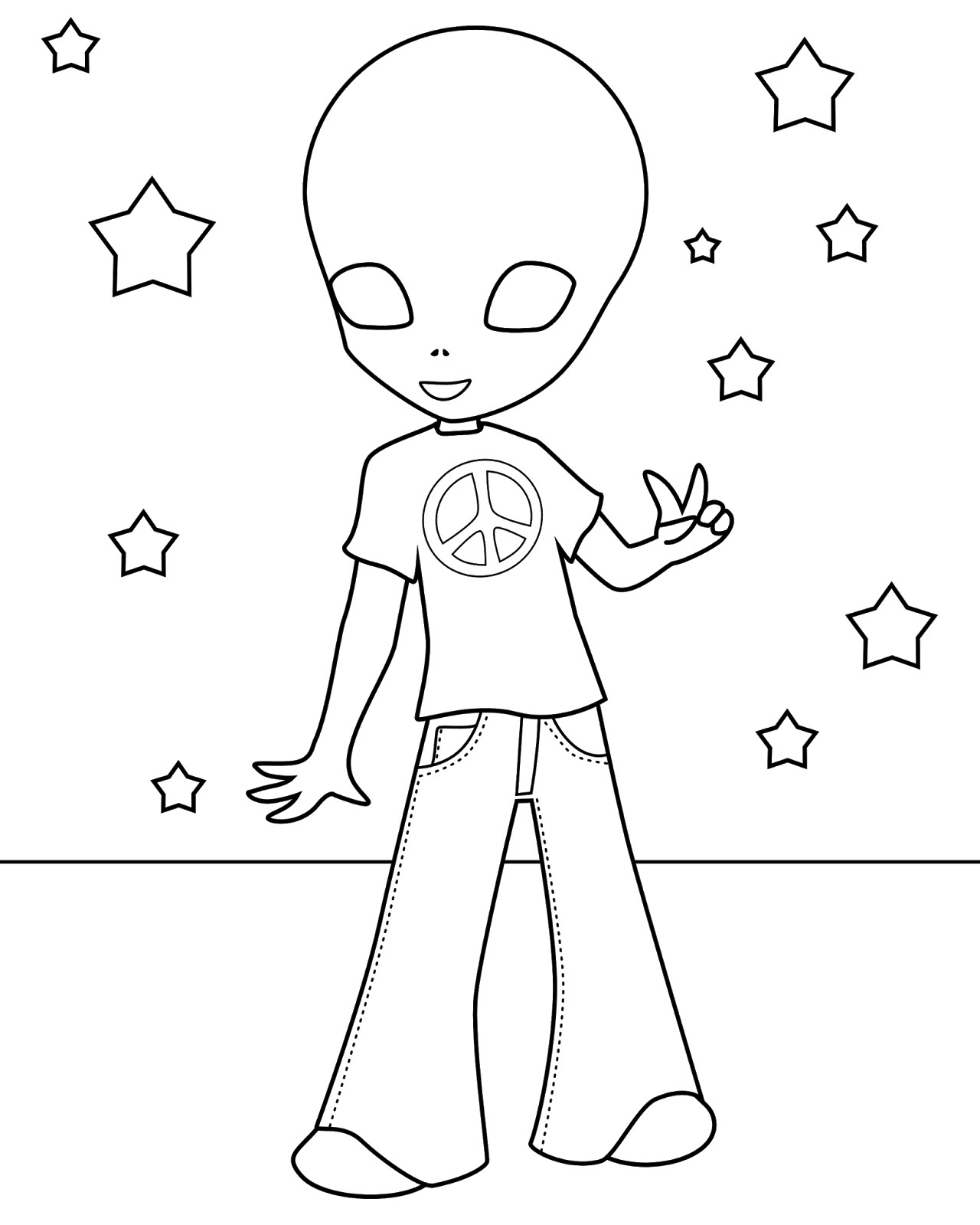 alien pictures for kids to color
