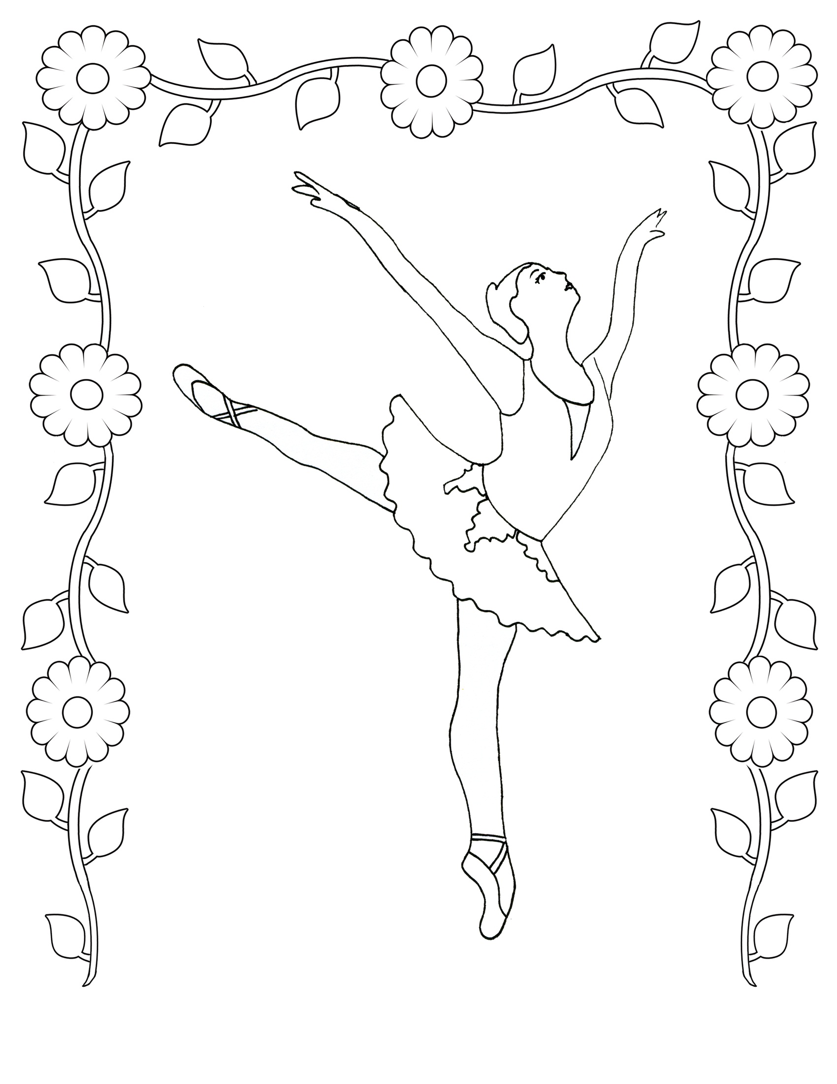 Free printable ballet coloring pages for kids for Coloring pages online free