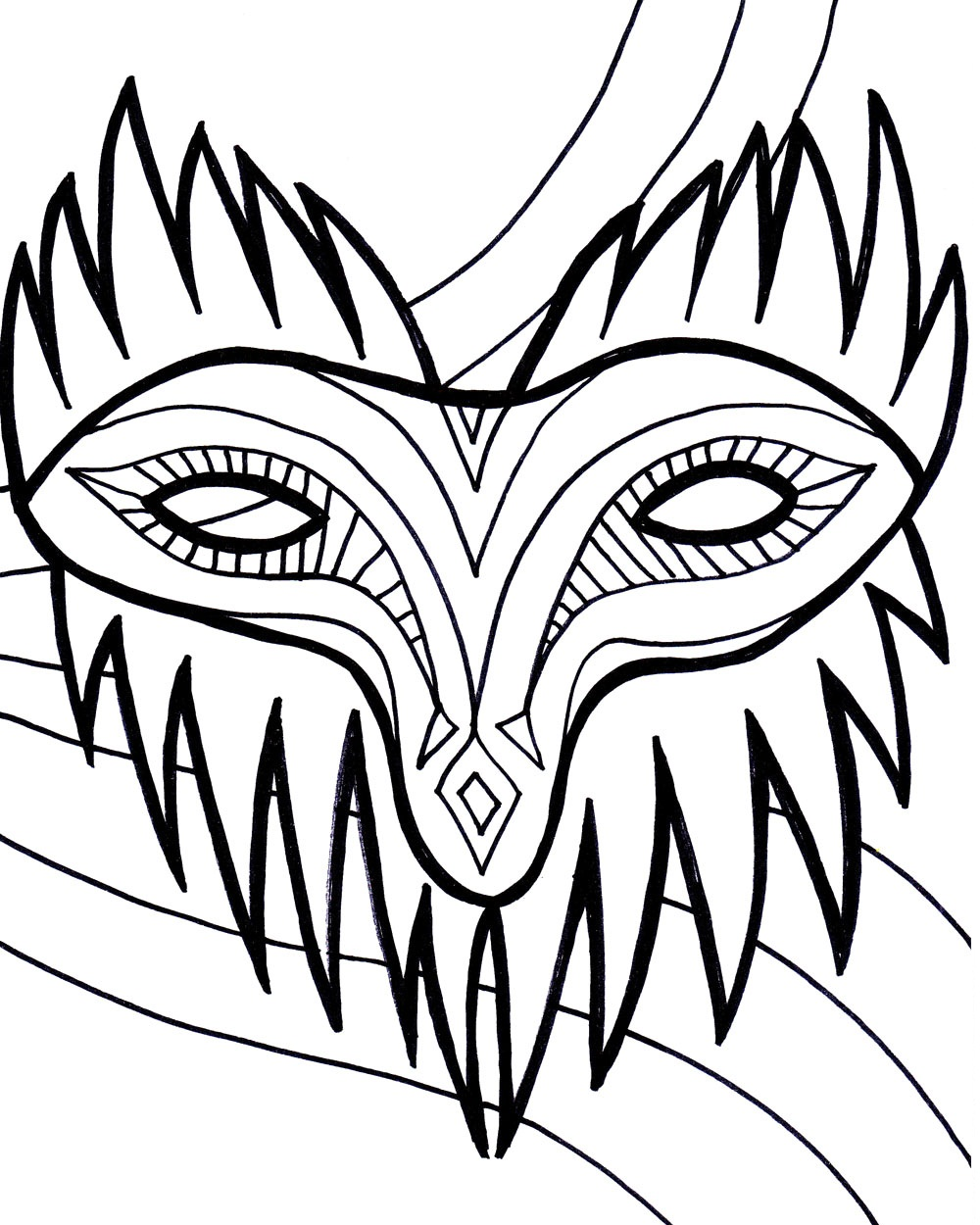 Free printable mardi gras coloring pages for kids for Coloring pages masks