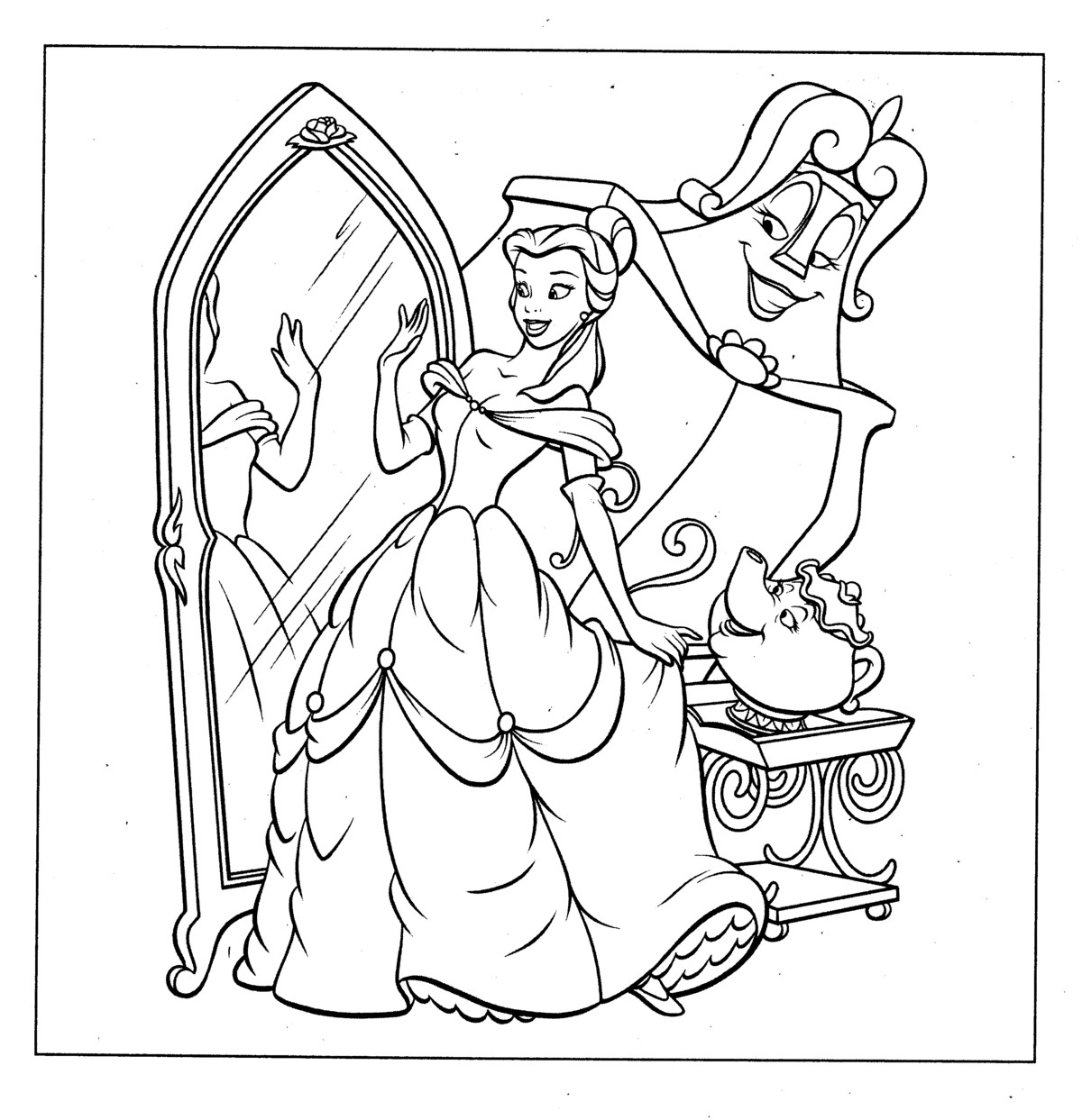 This is a photo of Bright Belle Printable Coloring Pages