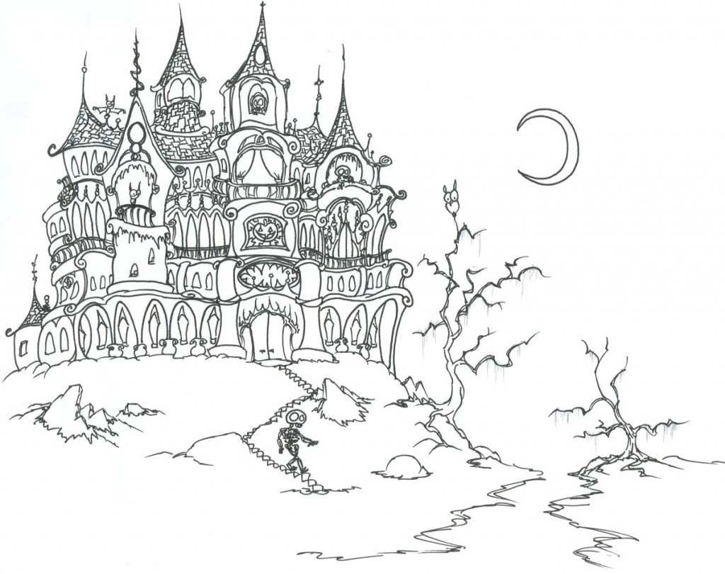 Free Printable Haunted House Coloring