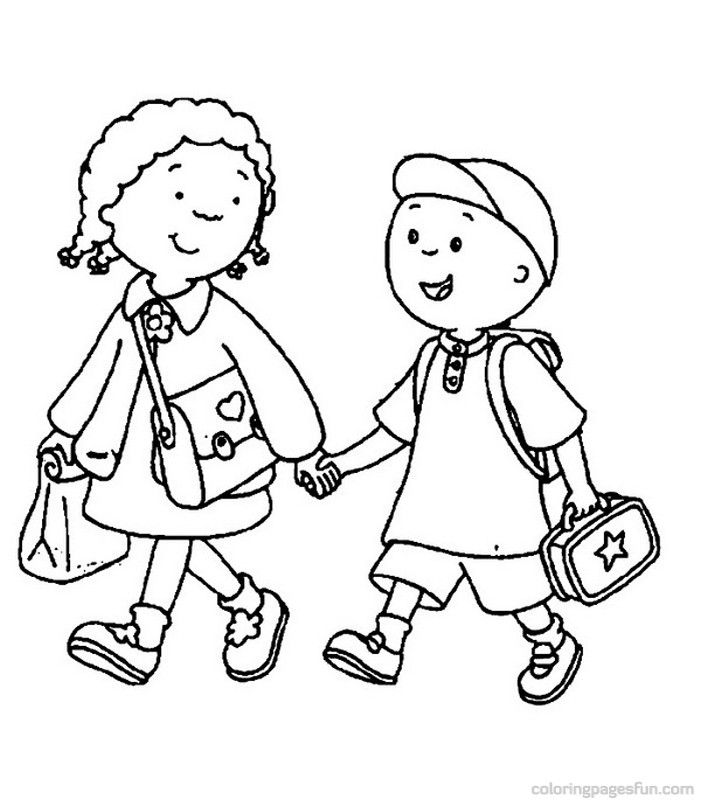 children walking coloring pages - photo#27